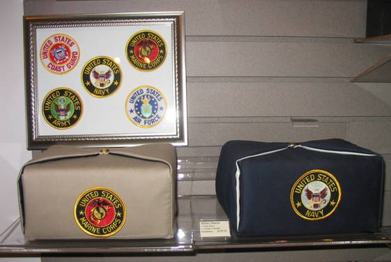 Military urns with framed seals