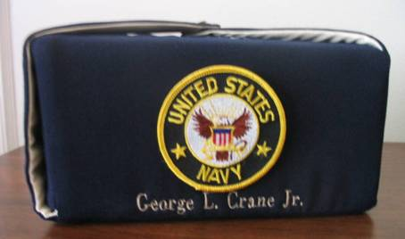 Military seal on embroidered urn