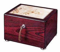 Rosewood urn with burl inlay