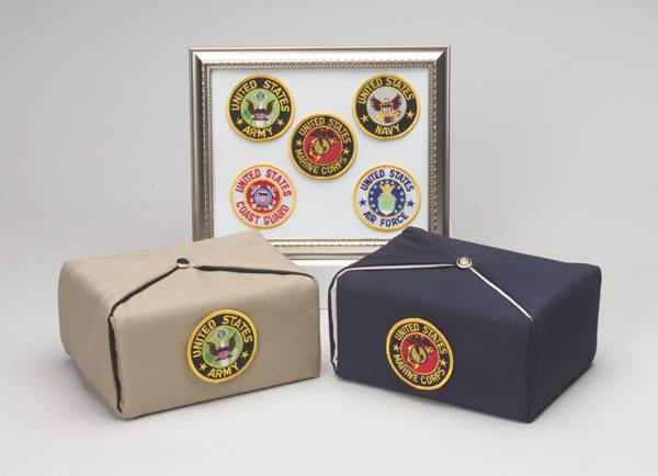 Military seal on fabric urns